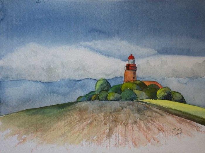 Frühling am Leuchtturm von Bastorf (c) Aquarell von Frank Koebsch