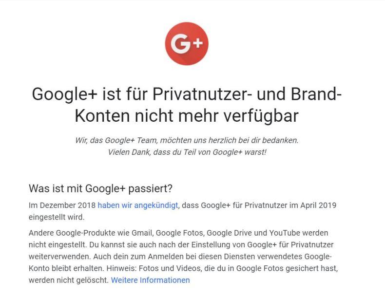 Google+ ist für Privatnutzer- und Brand-Konten nicht mehr verfügbar
