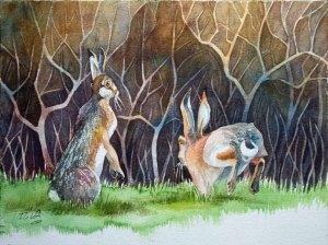 Hasen im Frühling (c) Aquarell von Frank Koebsch