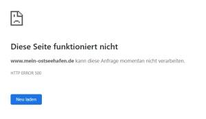 HTTP ERROR 500 - Diese Seite funktioniert nicht