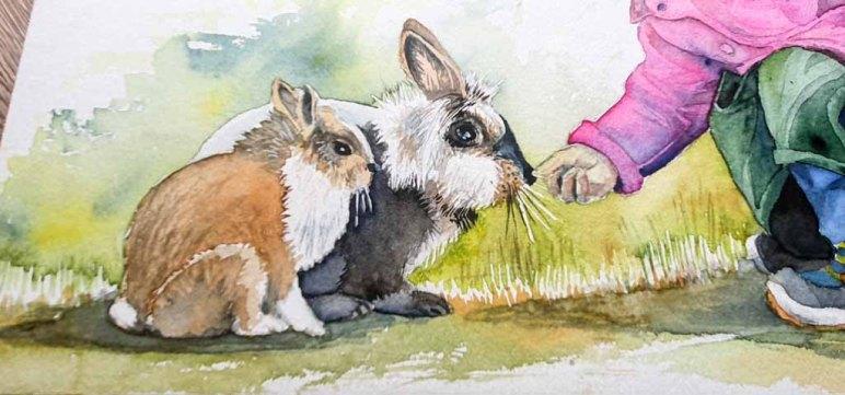 Lasuren im Fell der Kaninchen und für den Schatten runden das Aquarell - Auf der Suche nach dem Osterhasen - ab © Frank Koebsch
