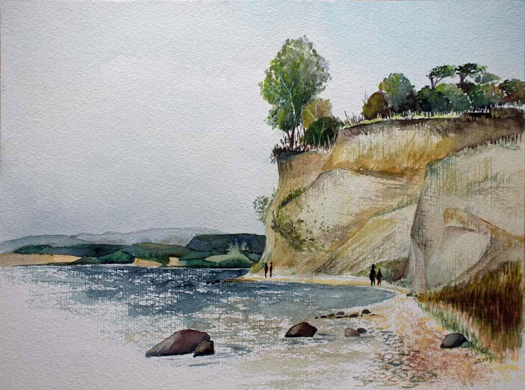 Steilküste am Reddevitzer Höft (c) Rügen Aquarell von FRank Koebsch