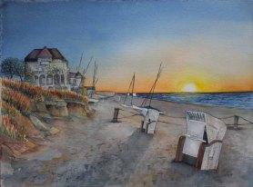 Abends am Strand von Kühlungsborn (c) Aquarell von FRank Koebsch