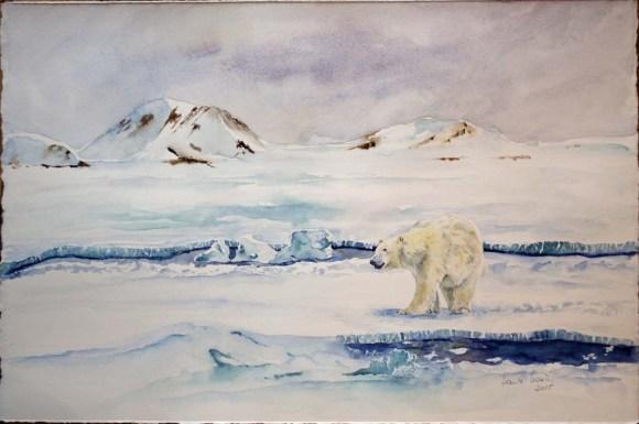 Andere Wege (c) ein Eisbär Aquarell von Hanka Koebsch