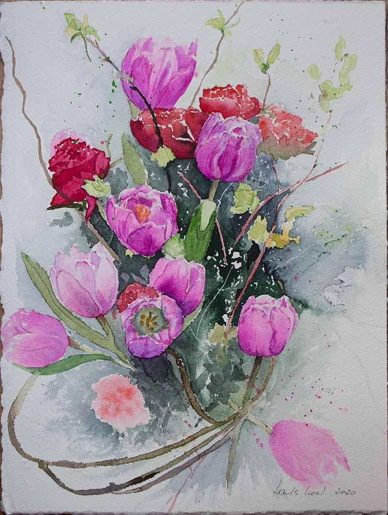 Danke Fur Die Blumen Ein Tulpen Aquarell Von Hanka Koebsch Bilder Aquarelle Vom Meer Mehr Von Frank Koebsch