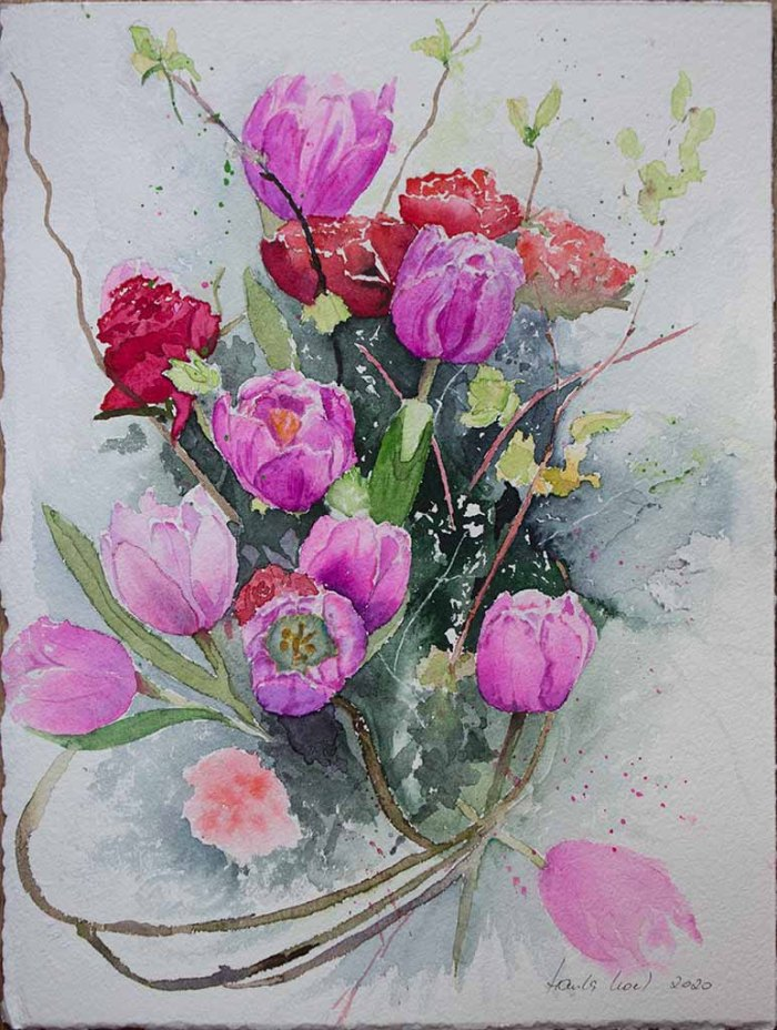 Danke für die Blumen (c) ein Tulpen Aquarell von Hanka Koebsch