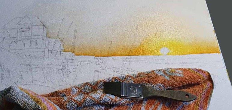 Erster Farbauftrag für ein neues Aquarell mit dem Sonnenuntergang über der Ostsee bei Kühlungsborn (c) FRank Koebsch