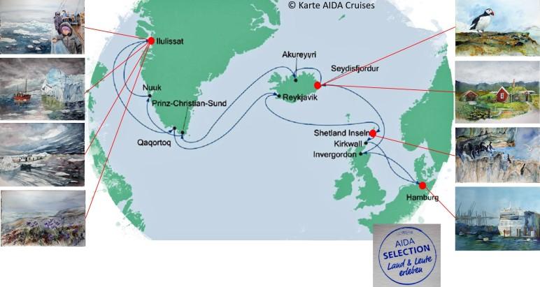 Karte der Kreuzfahrt Grönland – Island mit der AIDAcara, Grönland - Diskobucht (4) – Karte AIDA Cruises – Aquarelle Hanka & Frank Koebsch