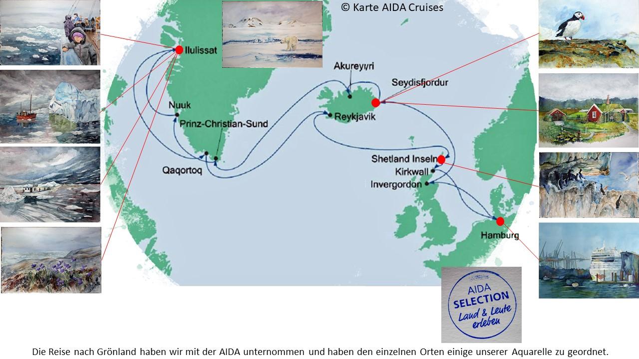 Karte der Kreuzfahrt Grönland – Island mit der AIDAcara, Grönland - Diskobucht (5) – Karte AIDA Cruises – Aquarelle Hanka & Frank Koebsch