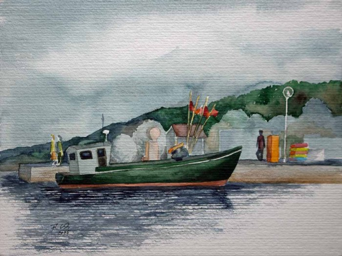 Kutter im Hafen von Thiessow (c) Aquarell von Frank Koebsch