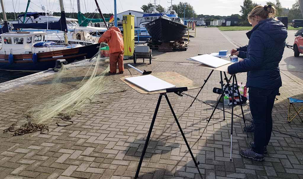 Malreise Rügen - Malen im Hafen von Thiessow (c) Frank Koebsch (2)