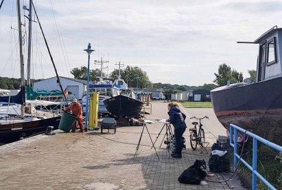 Malreise Rügen - Malen im Hafen von Thiessow (c) Frank Koebsch (3)