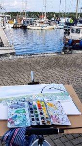 Malreise Rügen - Malen im Hafen von Thiessow (c) Frank Koebsch (8)