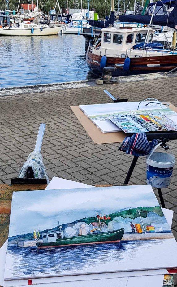 Mein Aquarell vom Kutter im Hafen Thiessow (c) Frank Koebsch