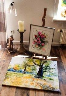 Druck auf Leinwand im Format 60 x 80 cm vom Aquarell - Sonniger Herbst (c) Frank Koebsch