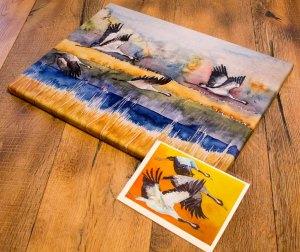 Druck auf Leinwand vom Kranich Aquarell - Landebahn - Im Format 36 x 48 cm und Klapptkarte vom Aquarell - Vögel des Grlücks (c) Frank Koebsch