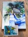 Druck auf Leinwand vom Spatzen Aquarell – Hmm – im Format 30 x 40 cm und die Faltkarten vom Aquarell – Blaumeisen genießen die erste Frühlingssonne © Hanka & Frank Koebsch