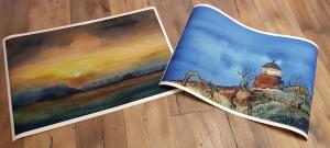Drucke auf Hahnemühle Papier Albrecht Dürer von den Aquarellen - Abend am Darßer Ort und Sonnenuntergang im Herbst – im Format 40 x 75 cm © Frank Koebsch