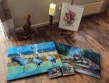Drucke auf Leinwand vom Kranich Aquarell – Morgenkreis – im Format 60 x 80 cm und Wild Life Aquarell mit den Wölfen – Aus dem Schatten – im Format 50 x 75 cm © Koebsch