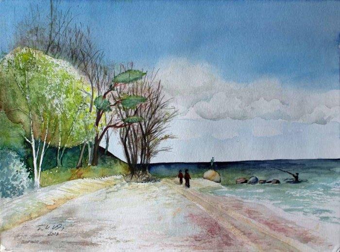 Frühling am Südstrand von Sellin (c) Aquarell von Frank Koebsch