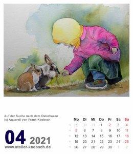 Kalenderblatt April 2021 für den Kalender mit Aquarellen von Hanka & Frank Koebsch