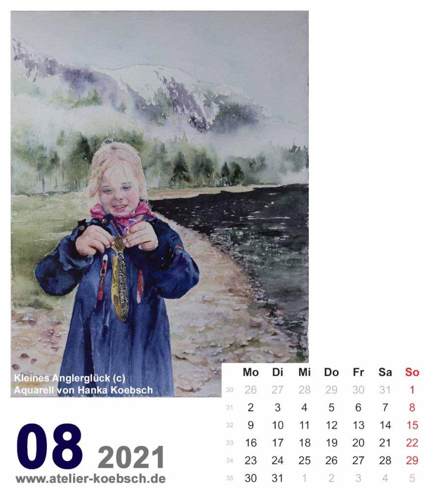 Kalenderblatt August 2021 für den Kalender mit Aquarellen von Hanka & Frank Koebsch