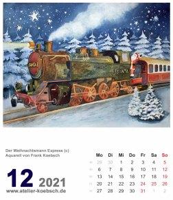 Kalenderblatt Dezember 2021 für den Kalender mit Aquarellen von Hanka & Frank Koebsch