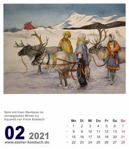 Kalenderblatt Februar 2021 für den Kalender mit Aquarellen von Hanka Frank Koebsch