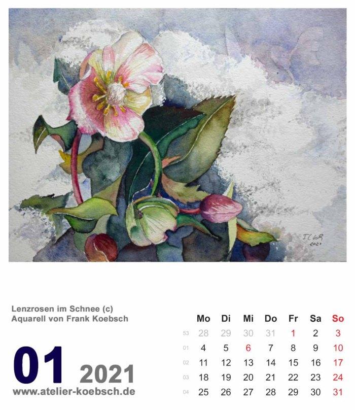Kalenderblatt Januar 2021 für den Kalender mit Aquarellen von Hanka & Frank Koebsch