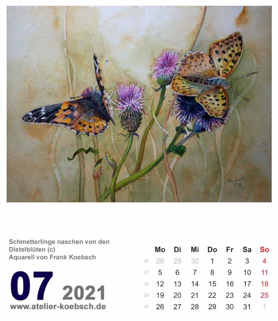 Kalenderblatt Juli 2021 für den Kalender mit Aquarellen von Hanka & Frank Koebsch