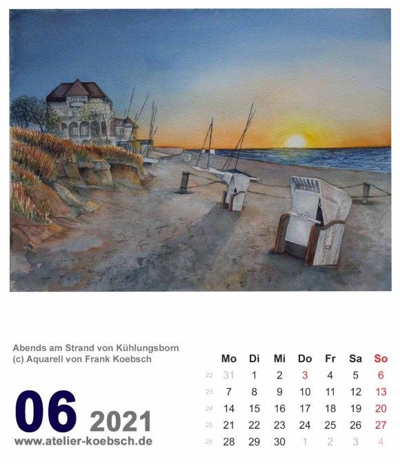 Kalenderblatt Juni 2021 für den Kalender mit Aquarellen von Hanka & Frank Koebsch
