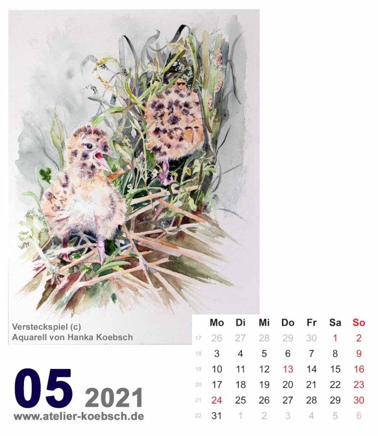 Kalenderblatt Mai 2021 für den Kalender mit Aquarellen von Hanka & Frank Koebsch