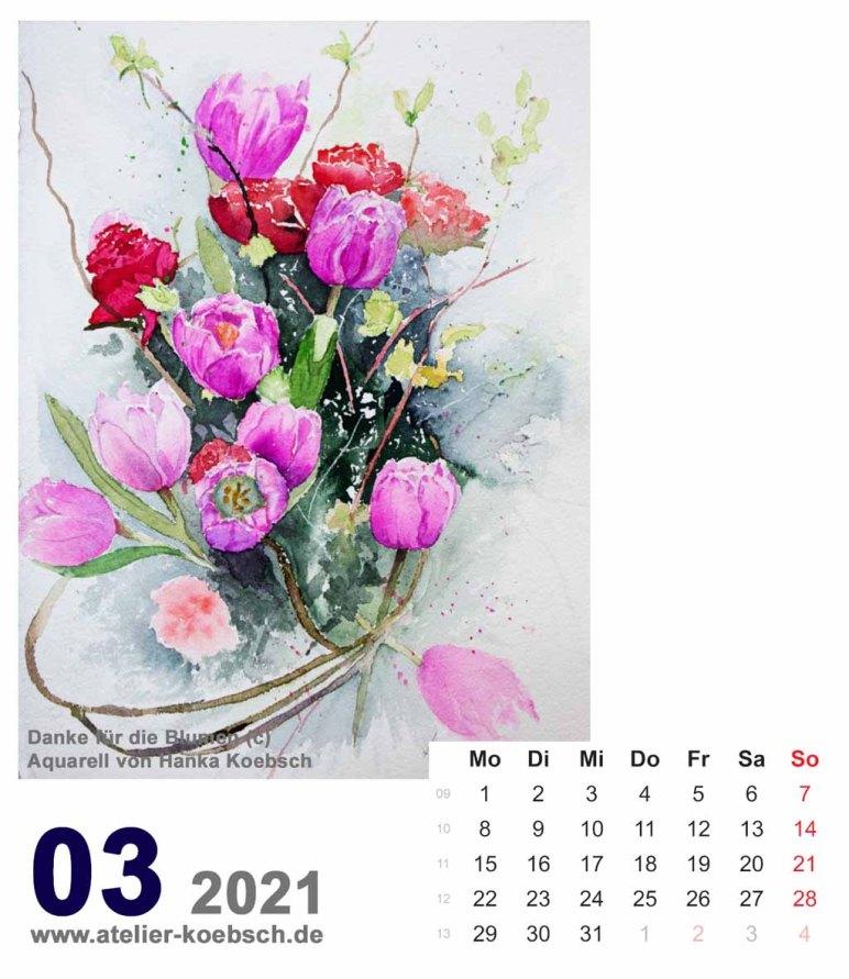 Kalenderblatt März 2021 für den Kalender mit Aquarellen von Hanka & Frank Koebsch