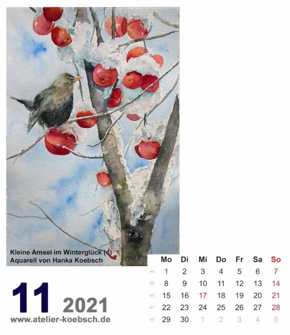 Kalenderblatt November 2021 für den Kalender mit Aquarellen von Hanka & Frank Koebsch