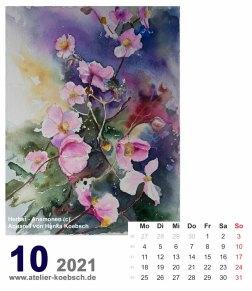 Kalenderblatt Oktober 2021 für den Kalender mit Aquarellen von Hanka & Frank Koebsch