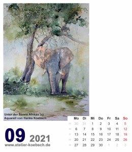 Kalenderblatt September 2021 für den Kalender mit Aquarellen von Hanka & Frank Koebsch