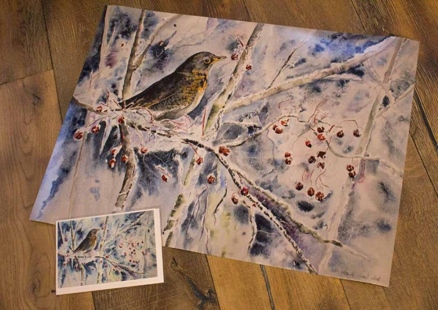 Posterdruck im Format 20 x 40 cm und Faltkarte mit Umschlag vom Aquarell - Kaltes Buffet - von Hanka Koebsch