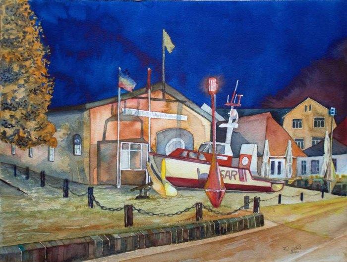 Abends in Kühlungsborn (c) Ein Aquarell mit der Seenotrettungsstation Kühlungsborn von Frank Koebsch