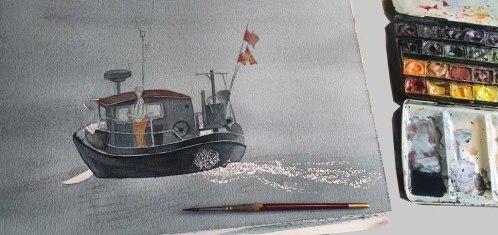 Aquarell - Früh morgens auf dem Wasser - Einige Lasuren später (c) Frank Koebsch