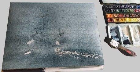 Aquarell - Früh morgens auf dem Wasser - Wie wird das Aquarell aussehen, wenn die erste Grundierung ein dunkles Grau ist (c) Frank Koebsch