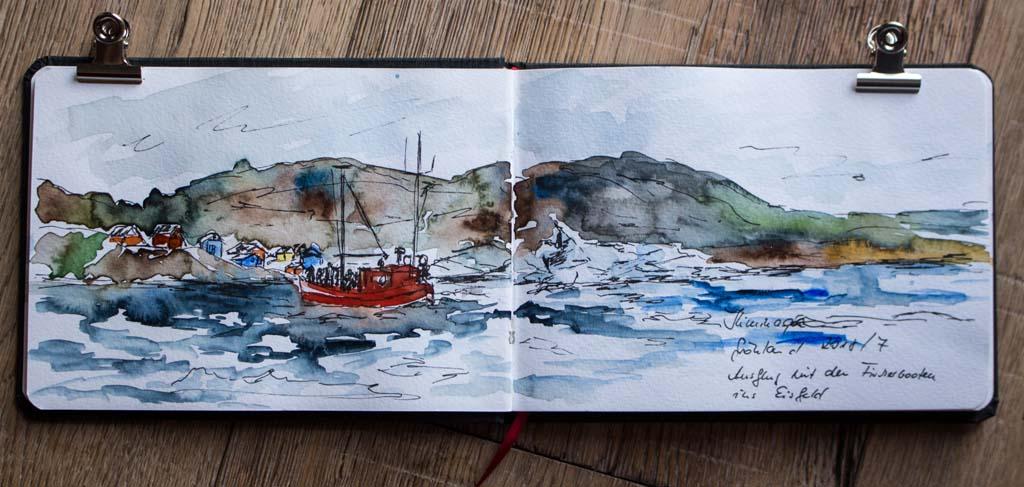Ausflug mit den Fischerbooten ins Eisfeld von Ilimanaq - Blick in das Skizzenbuch von Hanka Koebsch