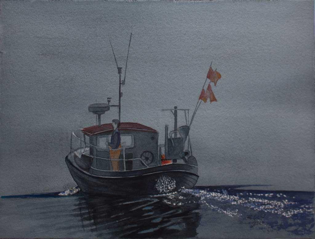 Früh morgens auf dem Wasser (c) Aquarell von Frank Koebsch