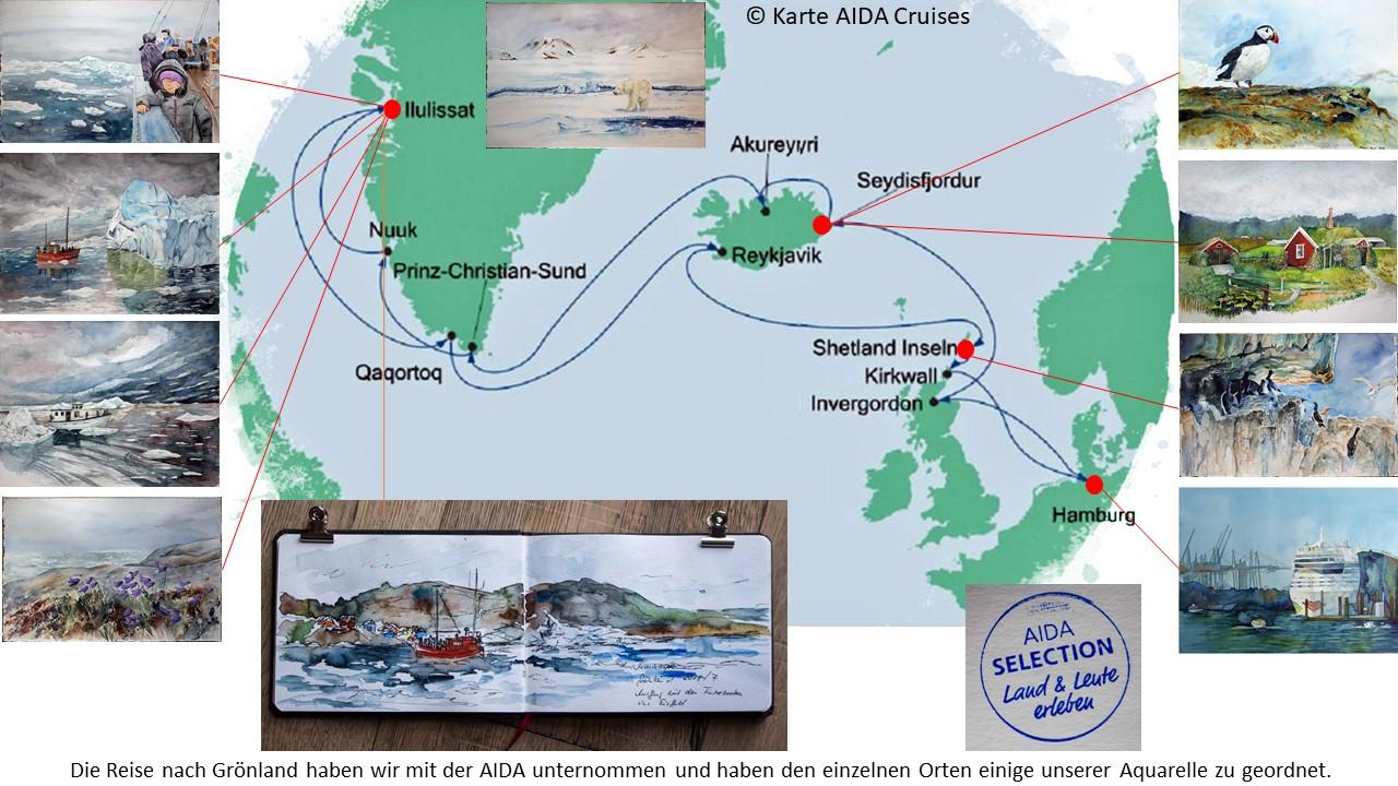 Karte der Kreuzfahrt Grönland – Island mit der AIDAcara, Grönland – Diskobucht (5) – Karte AIDA Cruises – Aquarelle Hanka & Frank Koebsch