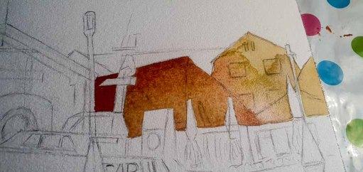 Step 1 -Nach einer Vorzeichnung werden die einzelne Flächen der Häuser gestaltet - Aquarell - Abends in Kühlungsborn (c) Frank Koebsch