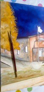 Step 11 - Das Launb steht aus verschieden Lasuren und Verläufen - Aquarell - Abends in Kühlungsborn (c) Frank Koebsch