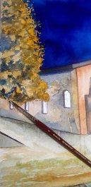 Step 12 - Das Laub steht aus verschieden Lasuren und Verläufen - Aquarell - Abends in Kühlungsborn (c) Frank Koebsch