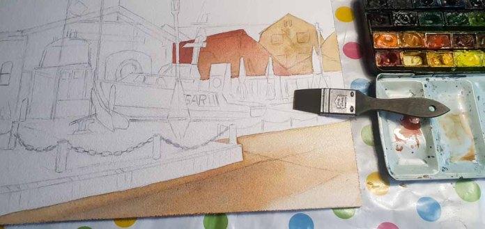 Step 2 -Nach einer Vorzeichnung werden die einzelne Flächen im Vordergrund gestaltet - Aquarell - Abends in Kühlungsborn (c) Frank Koebsch