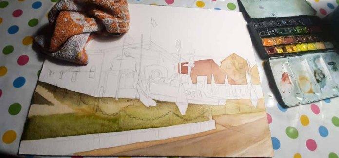 Step 3 -Nach einer Vorzeichnung werden die einzelne Flächen im Vordergrund gestaltet - Aquarell - Abends in Kühlungsborn (c) Frank Koebsch
