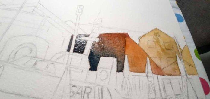 Step 4 -In einem zweiten Farbauftrag werden die Farben der Flächen angepasst - Aquarell - Abends in Kühlungsborn (c) Frank Koebsch