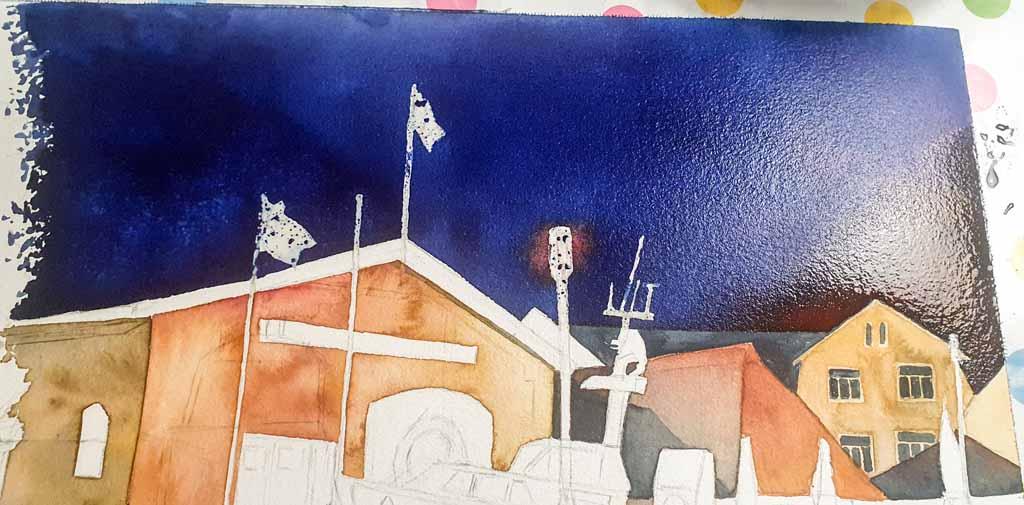 Step 5 -Nur ein dunkler Himmel kann das Bild zum Leuchten bringen - Aquarell - Abends in Kühlungsborn (c) Frank Koebsch